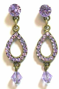 Creations Georgianni 14K Antique Gold Plated Tiered Post Earrings with Violet Swarovski Crystals in a Teardrop Shape Creations Georgianni. $64.95. These earrings hang 1.5 inches long with POSTS. These are so sparkly! They are the perfect size and look great on everyone.. Vintage style by designer Georgianni. Some of Georgianni's elegant jewelery designs has made it to Miss America Pageants, Miss USA, and Hollywood Stars.. New Design! Gorgeous 14K gold plated Earrings wi...