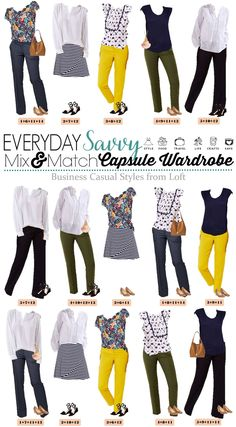 These business casual outfits for women mix and match to make 15 different outfits. It makes it easy to get dressed each morning for work and look great. #capsulewardrobe #loft #businesscasual via @everydaysavvy