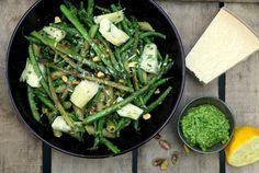 Karola's Kitchen - groene groenten met penne en rucola-pistachepesto