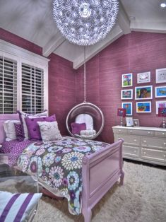 Bedroom, Purple Bedroom Decor Ideas With Ceiling Swings And Ball Pendant  Light Shades For Teenage