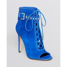 B Brian Atwood Open Toe Lace Up Booties - Lamotte High Heel - Boots - Shoes 2014