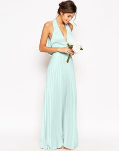 Image 1 of ASOS WEDDING Pleat Deep Plunge Maxi Dress