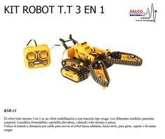 KIT  ROBOT T.T 3 EN 1 El robot todo terreno 3 en 1 es un robot multifunción y con tracción tipo oruga. Los diferentes módulos permiten  construir  3 modelos formidables: carretilla elevadora, vehículo todo terreno y pinza. Utilice el mando a distancia por cable para mover el robot hacia adelante, hacia atrás, para girar, sujetar o levantar  cargas. #productoPalco #kit #robot #educacional Robot, Cable, Kit, Pull Up, Caterpillar, Wheelbarrow, Atvs, Distance, Cabo