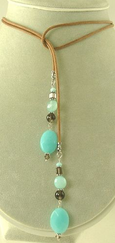 Lariat Necklace: Blue Chalcedony and Smoky Quartz: I would do a chain instead of leather