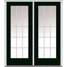 Milliken Millwork 62 in. x 81.75 in. Classic Clear Glass GBG Full Lite Painted Fiberglass Smooth Exterior Double Door, Hunter Green