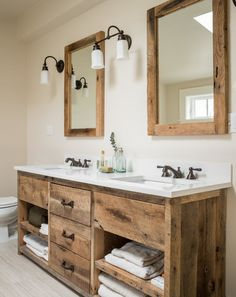If you get a huge bathroom, you can set triple rustic vanity into it. A rustic bathroom is something which produces a relaxing atmosphere very easily, it is a c Country Bathroom Vanities, Bathroom Vanity Designs, Rustic Bathrooms, Vanity Bathroom, Bathroom Ideas, Industrial Bathroom, Bathroom Renovations, Bathroom With Double Vanity, Reclaimed Wood Bathroom Vanity