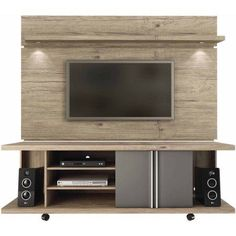 Manhattan Comfort Carnegie TV Stand and Park 1.8 Floating Wall TV Panel with LED Lights for TVs up to 60 inch, Multiple Colors, Brown