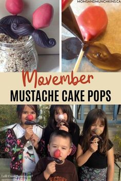 """Whether it is a fun way to support """"Movember"""" or just as a treat for your kids to have fun with, these Mustache Cake Pops are must-have desserts during November you should start learning to make! Get grooming with your edible mustache cake pops with us now. Mustache Cake Pops, Movember Mustache, Easy Desserts, Dessert Recipes, Cake Pop Tutorial, Cake Pops How To Make, Family Fun Night, Themed Cakes, Yummy Cakes"""