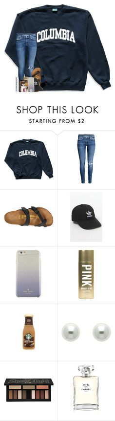 """""""i feel like i'm the only person who stays up until 3am doing literally nothing"""" by theblonde07 ❤ liked on Polyvore featuring Columbia, Birkenstock, adidas, Kate Spade, Victoria's Secret, Finesse, Kat Von D and Chanel"""