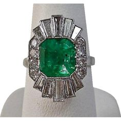 Estate 1950s Natural Columbian Emerald & Diamond Engagement Anniversary Ballerina Ring Platinum