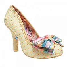 Irregular Choice Mal E Bow Pastel Yellow Classic High Heeled Shoes ❤ liked on Polyvore featuring shoes, yellow high heel shoes, print shoes, irregular choice shoes, rainbow footwear and pastel shoes