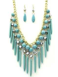 Fashion Necklace and Earring Set in Faux Turquoise - Chunky Necklace 18 Inches Long with Dangly Earrings on Chiq $0.00 : Buy Trends on CHIQ.COM http://www.chiq.com/fashion-necklace-and-earring-set-faux-turquoise-chunky-necklace-18-inches-long-dangly-earrings