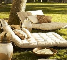 Chesapeake Futon Lounger  I'm definitely making one of these!     Summer Saturday nights at our house, backyard movies by the creek under the stars.... fun!