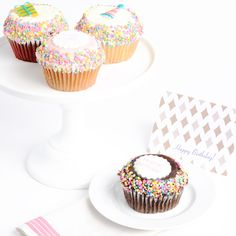 BIG TIME BIRTHDAY! Jumbo Gourmet Cupcakes! These JUMBO cupcakes arrive in a gift box with Happy Birthday right on the cupcake. We include 1 Chocolate Filled, 1 Vanilla Filled, 1 Strawberry Filled and 1 Red Velvet Filled Cupcake.
