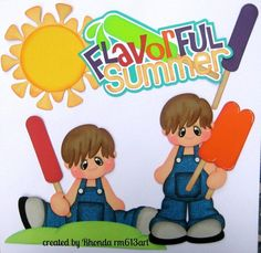Summer Popsicle boy paper piecing set premade scrapbook page Rhonda rm613art