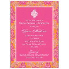 27b36d025e35 Lined Brocade Emblem Pink Bridal Shower Invitations