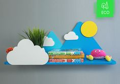 Mountains, clouds and Sun shelf for Kids Room Baby Nursery Wall Decor Shelf - Decorations for Bedroom Wall Artwork (Item - SHE001)
