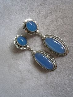 Vintage Sterling Silver Earrings With Double Blue by BALIARTWORKS