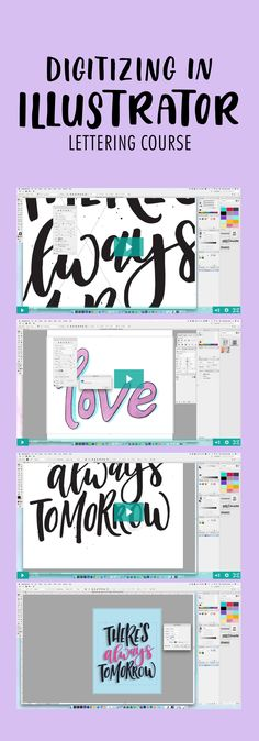 Learn how to digitize your lettering using Illustrator.  Necessary Illustrator tools and shortcuts to edit your design  How to vectorize your lettering using two techniques,  vectorize watercolored lettering, vectorize black and white inked lettering, recolor your artwork  How to mockup your piece  How to prepare your files for web and print, and create your very own greeting card from scratch to printed piece.