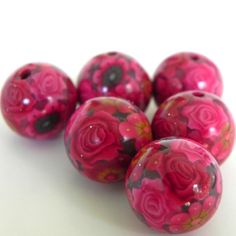 6 Handmade Polymer Clay Beads Red and Pink Flowers  by LavaGifts, $12.00