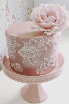 Wedding Cake Designers Small Pink With Rose