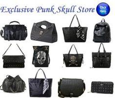 12 Styles Designer Skull Handbag Hobo Ladies Womens Purse New Black Shoulder Bag