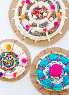 Easy Cardboard Circle Weaving with Kids