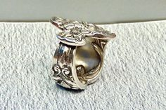 Sterling Silver Handmade Floral Spoon Ring, Antique, Size 5, 11 Grams by EclairJewelry on Etsy