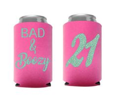 Excited to share this item from my shop: Bad & Boozy Birthday can holder / birthday party favors / birthday party / Bad and boozy can cooler / birthday can cooler 21st Birthday Games, 21st Bday Ideas, Birthday Cup, Adult Birthday Party, Birthday Party Favors, 21st Birthday Ideas For Girls Turning 21, Golden Birthday, Birthday Decorations, Birthday Gifts