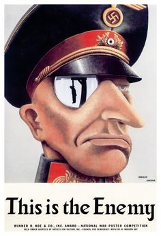 This is the Enemy Poster, Nazi Criminals, World War 2 Propaganda Poster by ThePosterProvider on Etsy https://www.etsy.com/listing/241209306/this-is-the-enemy-poster-nazi-criminals