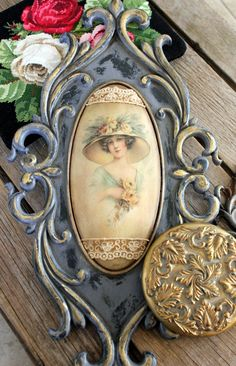 Distressed Picture Frames, Vintage Photo Frames, Antique Picture Frames, Decoupage Furniture, Decoupage Art, Painted Furniture, Fairy Statues, Paisley Art, Furniture Painting Techniques