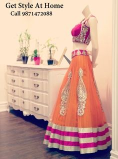 Orange Lehenga With Bright Pink Dupatta . Call/ Whatsapp 9871472088. See more collection on facebook https://www.facebook.com/GetStyleAtHome