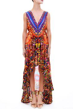Heritage Hi-Low Dress w/ Plunging V-Neck - Resort Dresses - Designer Dresses