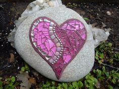 Love rock   by AMOSAIC Mosaic Rocks, Stone Mosaic, Mosaic Glass, Mosaic Designs, Mosaic Patterns, Mosaic Ideas, Mosaic Artwork, Sea Glass Crafts, Garden Mosaics