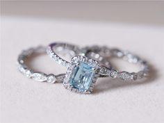 5x7mm Blue Aquamarine Ring w/ Matching Band Wedding Ring Set 14K White Gold Ring Diamond Engagement Ring Wedding Ring -3 Rings Set by AbbyandWills on Etsy https://www.etsy.com/listing/198142715/5x7mm-blue-aquamarine-ring-w-matching