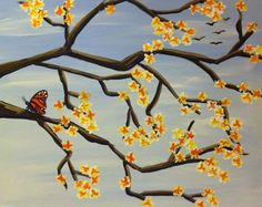 Butterfly in Waiting Painting - All paintings are taught at Painting and Pinot - Baton Rouge