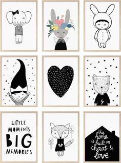monochrome posters kids room