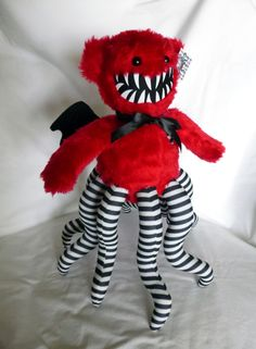 Winged Hugstrosity- Teddy Bear Tentacle monster in Red Black and White