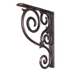 """Amazon.com: One Pair- Brushed Copper- Metal (Iron) Scrolled Bar Brackets-1-1/2"""" X 10"""" X 13-1/2"""": Home Improvement"""