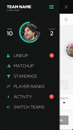 MENU - General layout of flat icons and Dashboard User Pic ( layout is missing headings/groupings )