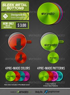 Sleek Metal Buttons — Photoshop PSD #psd #link • Available here → https://graphicriver.net/item/sleek-metal-buttons/4629964?ref=pxcr