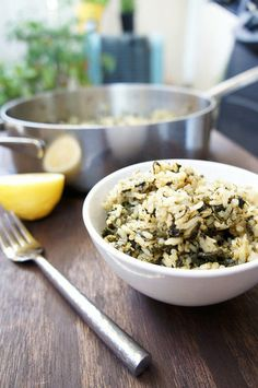 Greek Rice : Try your hand at a bowl of Spanakorizo Greek rice for an aromatic, spinach-infused recipe that is like spanakopita in rice form.  Source: Le Fork