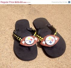 Steelers Football Flip Flops made from footballs Ready To Ship by MumAMia3  on Etsy 2fb1d5e3390