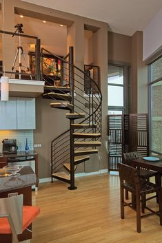 Looking for bedrooms with spiral staircase ideas? Browse breathtaking photo gallery for a spiral staircase in bedrooms to get inspired. Loft Design, Small Living Rooms, Stairs Design, Home, Small Spaces, Stone Stairs, House, Interior Design, House Interior