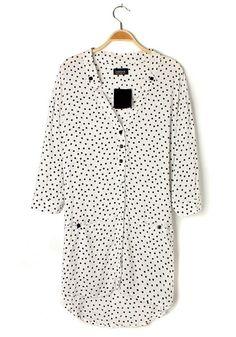 White Polka Dot Irregular V-neck Cotton Blouse