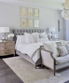 ✔ 54 white and grey master bedroom interior design ideas that will make you feel calm 15 Related White Bedroom Furniture, Home Decor Bedroom, Bedroom Wall, Bedroom Interiors, Bedroom Ideas, Modern Interiors, Wood Furniture, White Gray Bedroom, Indie Bedroom