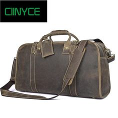 897912e45a Vintage Men Crazy Horse Leather Travel Big Luggage Cowhide Genuine Cow Skin Duffle  Bags Retro Handmade