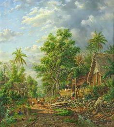 Van Den Kherkoff before 1890 Perkampungan di Malang Nature Paintings, Landscape Paintings, Bali Painting, Indonesian Art, Dutch East Indies, Illustrations And Posters, Aesthetic Art, New Art, Art Drawings