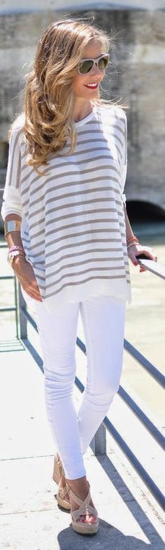 white jeans + cozy summer stripes, nude wedges