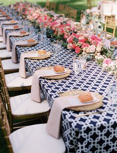 Navy blue and pink garden wedding reception - the printed table cloth looks lovely with the pink centerpiece Garden Wedding, Wedding Table, Our Wedding, Wedding Reception, Party Wedding, Deco Table, Decoration Table, Wedding Trends, Wedding Ideas